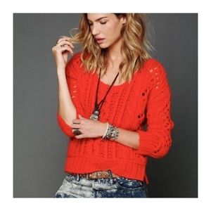 Free People Wildfire Fluff cable knit sweater